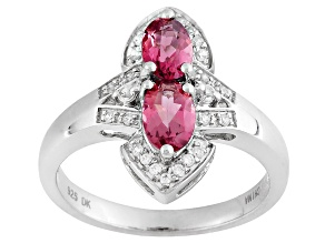 Pre-Owned Pink Tourmaline And White Zircon Sterling Silver Ring .87ctw