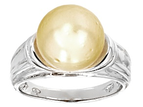 Pre-Owned Cultured South Sea Pearl Rhodium Over Sterling Silver Ring 10mm