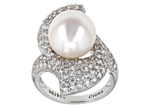 Pre-Owned Cultured Freshwater Pearl With Zircon Rhodium Over Silver Ring 11.5-12mm