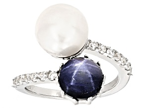 Pre-Owned Cultured Freshwater Pearl With Sapphire, And Zircon Rhodium Over Silver Ring 9.5-10mm