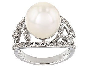 Pre-Owned Cultured Freshwater Pearl With Zircon Rhodium Over Silver Ring 12-13mm