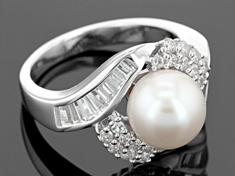 Pre-Owned Cultured Freshwater Pearl With Zircon Rhodium Over Silver Ring 9-9.5mm