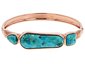 Pre-Owned  Mixed Shape Turquoise Copper Hinged Bracelet