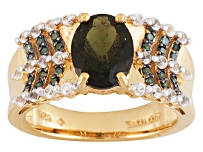 Pre-Owned Green Moldavite, White Zircon And Green Diamond 18k Gold Over Silver Ring 1.75ctw
