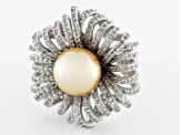 Pre-Owned Golden Cultured South Sea Pearl, White Topaz Silver Ring