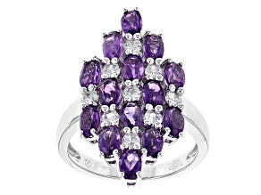 Pre-Owned Purple Amethyst Sterling Silver Cluster Ring 4.05ctw