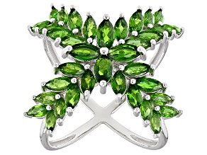 Pre-Owned Green Chrome Diopside Sterling Silver Ring 4.44ctw