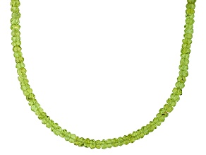 Pre-Owned Green Peridot Silver Beaded Necklace Approximately 55.00ctw