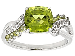 Pre-Owned Green Peridot Strerling Silver Ring 2.75ctw