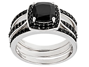 Pre-Owned Black Spinel Sterling Silver Stackable 3 Ring Set 3.83ctw