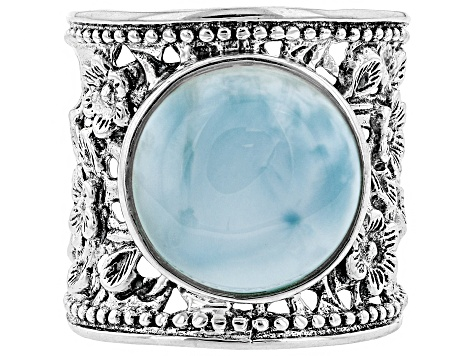 Pre-Owned Womens Flower Detail Cigar Band Ring Blue Larimar Sterling Silver