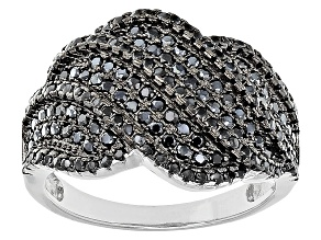 Pre-Owned Black Spinel Sterling Silver Ring 1.00ctw