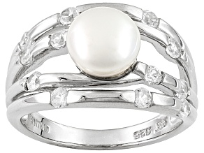 Pre-Owned White Cultured Freshwater Pearl With White Zircon Sterling Silver Ring