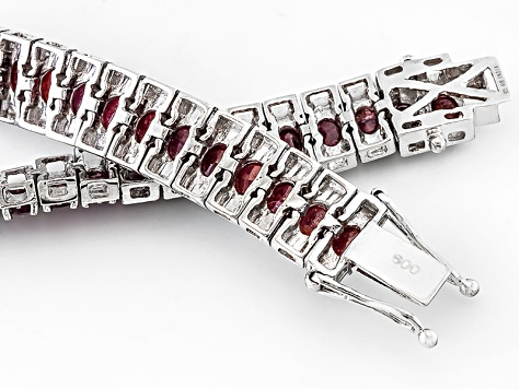 Pre-Owned Red indian Ruby Silver Bracelet 16.96ctw