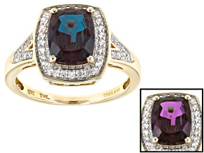 Pre-Owned Color Change Lab Created Alexandrite 10k Yellow Gold Ring 1.99ctw