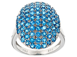 Pre-Owned Blue Neon Apatite Cluster Ring 3.00ctw