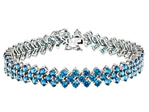 Pre-Owned Blue And White Cubic Zirconia Rhodium Over Sterling Silver Bracelet 10.00ctw