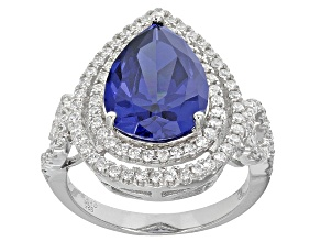 Pre-Owned Blue And White Cubic Zirconia Rhodium Over Sterling Silver Ring 9.70ctw