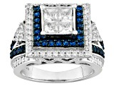 Pre-Owned Synthetic Blue Corundum And White Cubic Zirconic Silver Ring 3.15ctw