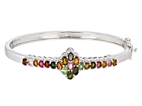 Pre-Owned Multi Color Tourmaline Sterling Silver Cuff Bracelet 3.59ctw