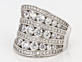 Pre-Owned white cubic zirconia rhodium over sterling silver ring 4.20ctw