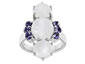 Pre-Owned White Rainbow Moonstone And Tanzanite Sterling Silver Ring .54ctw