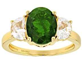 Pre-Owned Green Russian chrome diopside 18k yellow gold over sterling silver ring 3.96ctw