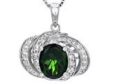 Pre-Owned Green Chrome Diopside Sterling Silver Pendant With Chain 2.89ctw