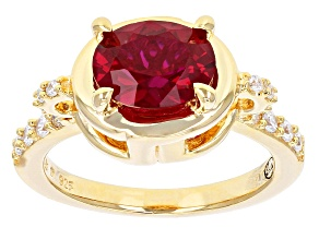 Pre-Owned Lab Created Ruby & White Cubic Zirconia 18k Yellow Gold Over Silver Greek Key Ring 2.43ctw