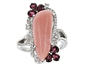 Pre-Owned Pink Peruvian Opal Sterling Silver Ring 1.68ctw