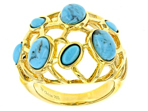 Pre-Owned Turquoise 18k Yellow Gold Over Silver Ring