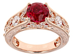 Pre-Owned Lab Created Ruby And White Cubic Zirconia 18k Rose Gold Over Silver Ring 4.51ctw