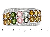 Pre-Owned Multicolor Tourmaline And White Zircon Sterling Silver Ring 1.72ctw