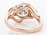 Pre-Owned Moissanite Fire® 2.20ct DEW Round And .44ctw Round Morganite 14k Rose Gold Over Silver Rin