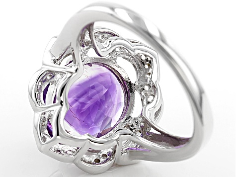 Pre-Owned Purple Amethyst Sterling Silver Ring 3.73ctw
