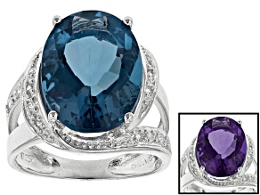Pre-Owned Blue Color Change Fluorite And White Zircon Sterling Silver Ring 10.04ctw