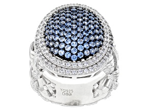 Pre-Owned Blue Created Spinel And White Cubic Zirconia Rhodium Over Sterling Silver Ring 3.85ctw