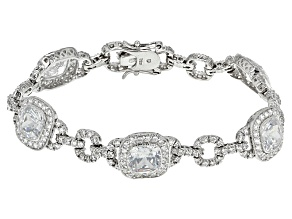 Pre-Owned White Cubic Zirconia Rhodium Over Sterling Silver Bracelet 26.22ctw