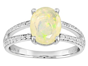 Pre-Owned Ethiopian Opal Silver Ring 1.14ctw