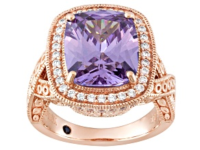 Pre-Owned Purple And White Cubic Zirconia 18k Rose Gold Over Sterling Silver Ring 12.67ctw