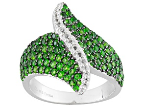 Pre-Owned Green Russian Chrome Diopside And White Topaz Sterling Silver Ring 1.95ctw