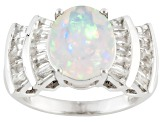 Pre-Owned Multi Color Ethiopian Opal Sterling Silver Ring 3.52ctw