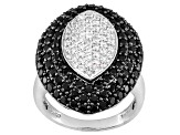 Pre-Owned Black Spinel And White Topaz Sterling Silver Ring 2.43ctw