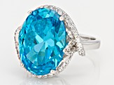 Pre-Owned Blue And White Cubic Zirconia Rhodium Over Sterling Silver Ring 20.35ctw