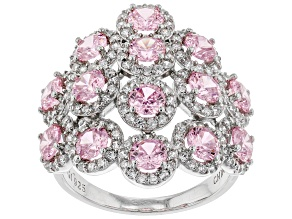 Pre-Owned Pink And White Cubic Zirconia Rhodium Over Sterling Silver Cluster Ring 6.86ctw