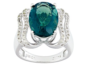 Pre-Owned Teal Fluorite Sterling Silver Ring 6.40ctw