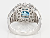 Pre-Owned Blue And White Cubic Zirconia Rhodium Over Sterling Silver Ring 5.50ctw