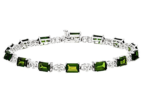 Pre-Owned Green Russian Chrome Diopside Sterling Silver Bracelet 11.74ctw