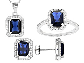 Pre-Owned Lab Created Sapphire and White Cubic Zirconia Rhodium Over Sterling Jewelry Set 6.00ctw