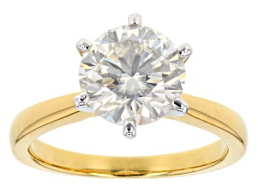 Pre-Owned Moissanite Fire® 2.70ct Diamond Equivalent Weight Round 14k Yellow Gold Over Sterling Silv